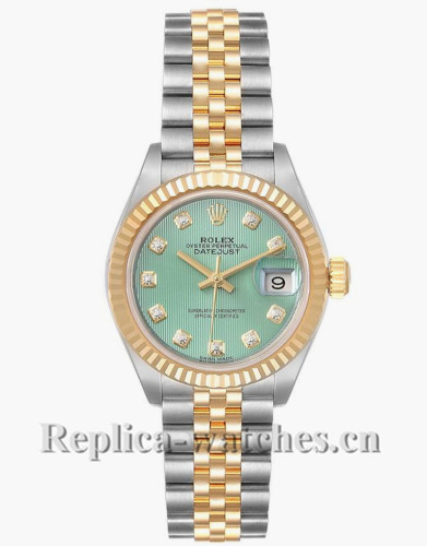 Replica Rolex Datejust 279173 Stainless steel oyster case 28mm Green Diamond Dial Ladies Watch