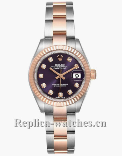 Replica Rolex Datejust 279171 Stainless steel oyster case 28mm purple dial Diamond Ladies Watch