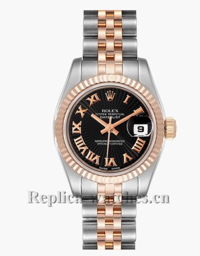 Replica Rolex Datejust 179171 Stainless steel oyster case 26mm Black sunbeam dial Ladies Watch