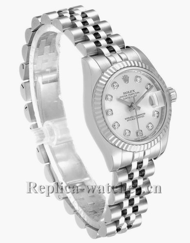 Replica Rolex Datejust 179174 Stainless steel oyster case 26mm Silver dial Diamond Ladies Watch