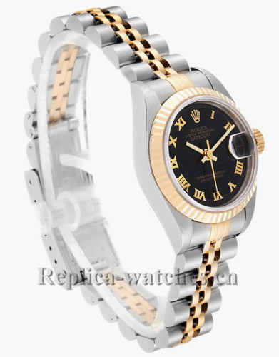 Replica Rolex Datejust 79173 Stainless steel oyster case 26mm Black Dial Ladies Watch