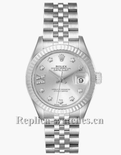 Replica Rolex Datejust 279174  Stainless steel oyster case 28mm Silver Diamond Dial Ladies Watch