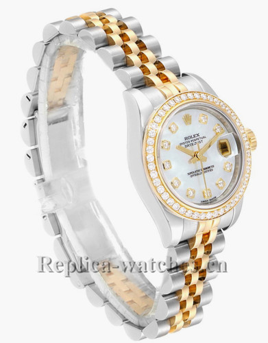 Replica Rolex  Datejust 179383 Stainless steel oyster case 26mm MOP Diamond dial Ladies Watch