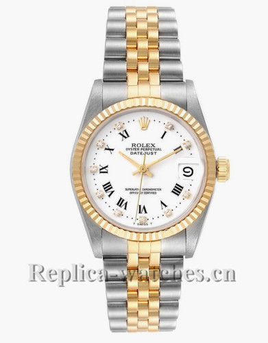 Replica Rolex Datejust 68273 Stainless steel oyster case 31mm White Dial Ladies Watch
