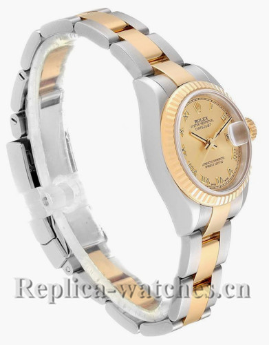 Replica Rolex Datejust 179173 Stainless steel oyster case 26mm Champagne Dial Ladies Watch