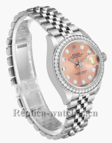 Replica Rolex Datejust 279384 Stainless steel oyster case 28mm Pink Dial Ladies Watch