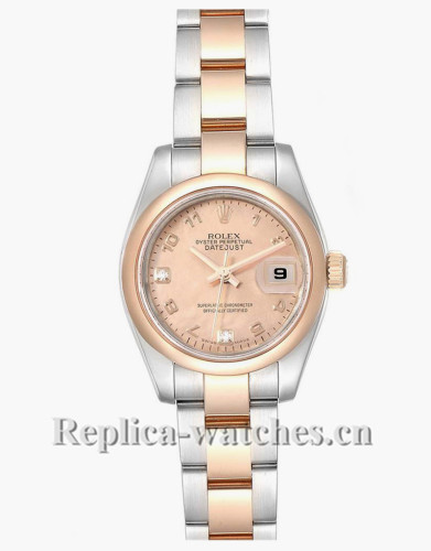 Replica Rolex Datejust 179161 Stainless steel oyster case 26mm Rose Diamond Dial Ladies Watch