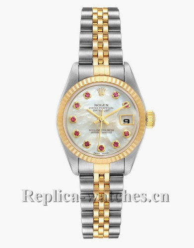 Replica Rolex Datejust 79173 Stainless steel oyster case 26mm MOP Ruby dial  Ladies Watch