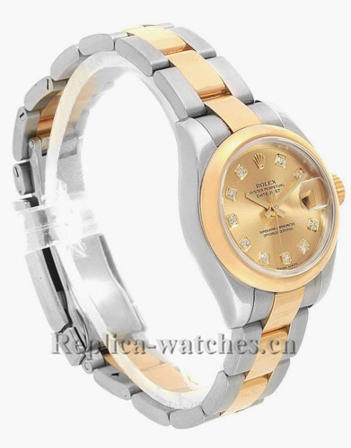 Replica Rolex Datejust 179163 Stainless steel oyster case 26mm Champagne dial Diamond Ladies Watch