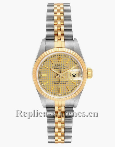 Replica Rolex Datejust 69173 Houndstooth Dial Stainless steel oyster case 26mm Ladies Watch
