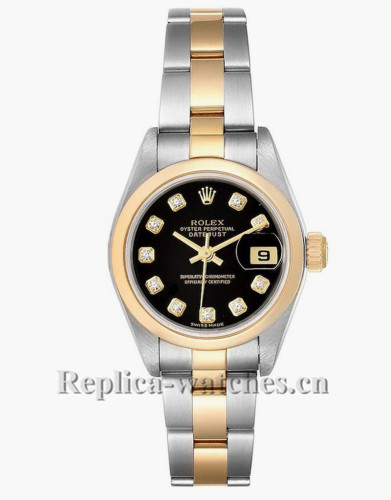 Replica Rolex Datejust 79163 Stainless steel oyster case 26mm Black dial Diamond Ladies Watch