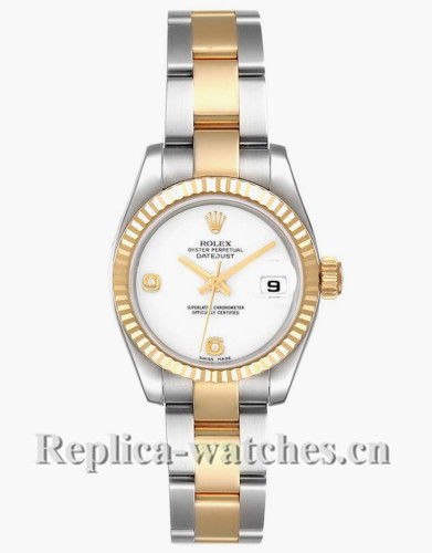 Replica Rolex Datejust 179173 Stainless steel oyster case 26mm White Onyx Diamond Dial Ladies Watch