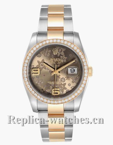 Replica Rolex Datejust 116243 Stainless steel case 36mm Bronze Flower Dial Ladies Watch