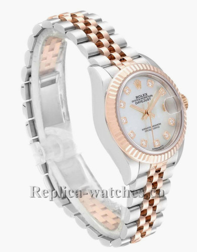 Replica Rolex Datejust 279171 Stainless steel oyster case 28mm MOP Diamond Dial Ladies Watch