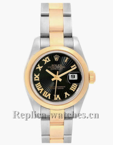 Replica Rolex Datejust 179163 Stainless steel oyster case 26mm Black Dial Ladies Watch