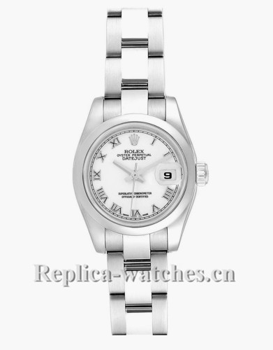 Replica Rolex Datejust 179160 White Roman Dial 26mm Oyster Bracelet Ladies Watch