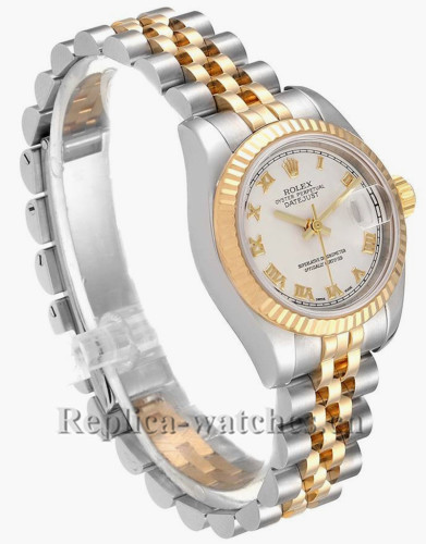 Replica Rolex Datejust 179173 Stainless steel oyster case 26mm Silver pyramid dial Ladies Watch
