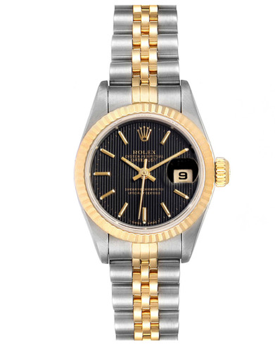 Replica Rolex Datejust 69173 Stainless steel oyster case 26mm Black Dial Ladies Watch