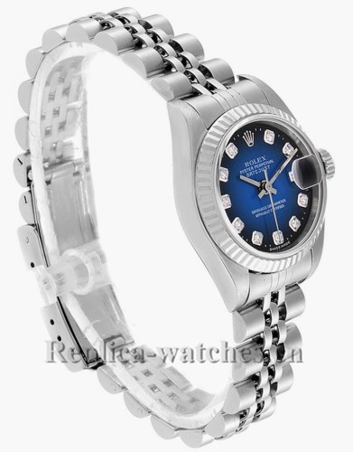 Replica Rolex Datejust 79174 Stainless steel oyster case 26mm Blue Vignette Diamond dial Ladies Watch