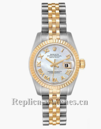 Replica Rolex Datejust 179173 Stainless steel oyster case 26mm Mother of Pearl dial Ladies Watch