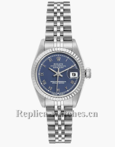 Replica Rolex Datejust 69174 Steel Stainless steel oyster case 26mm Blue Roman Dial Ladies Watch