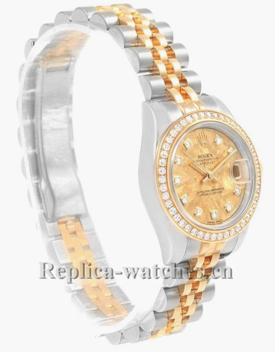 Replica Rolex Datejust 179383 Stainless steel oyster case 26mm Yellow Crystals dial Diamond Ladies Watch