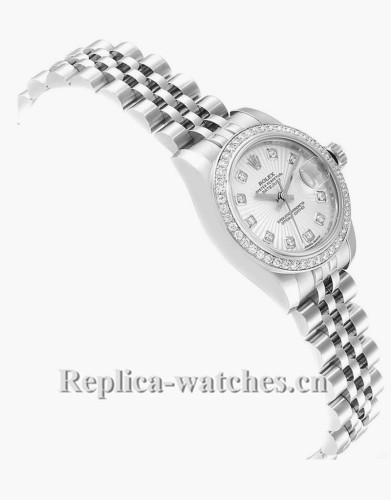 Replica Rolex Datejust 179384 Stainless steel oyster case 26mm Silver sunbeam dial Diamond Ladies Watch