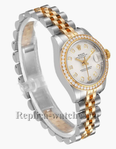 Replica Rolex Datejust 179383 Stainless steel oyster case 26mm Silver Sunbeam Dial Diamond Ladies Watch