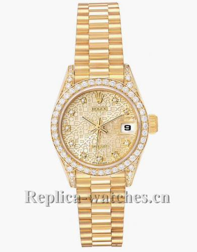 Replica Rolex President 69158 cyclops magnifier 26mm champagne Anniversary Dial Diamond Ladies Watch
