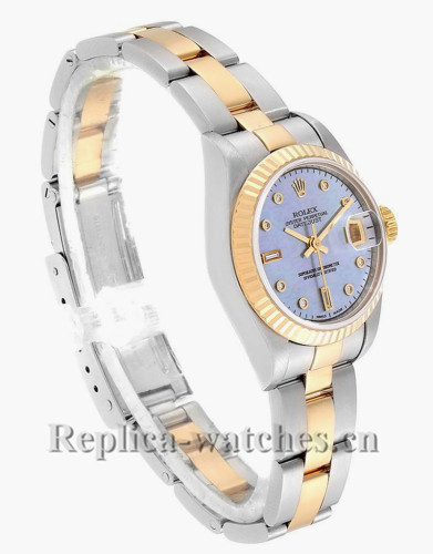 Replica Rolex Datejust 79173 Stainless steel oyster case 26mm MOP Diamond dial Ladies Watch