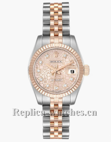 Replica Rolex Datejust 179171 Stainless steel oyster case 26mm Rose jubilee anniversary dial Ladies Watch