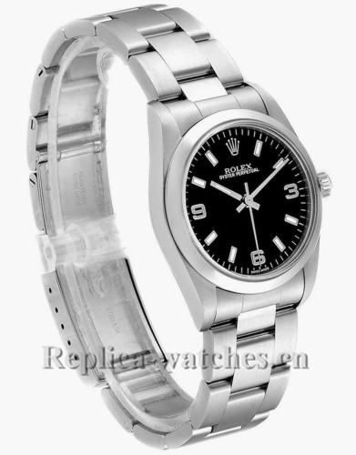Replica Rolex Midsize 77080 Stainless steel oyster case 31mm Black Baton Dial Steel Ladies Watch