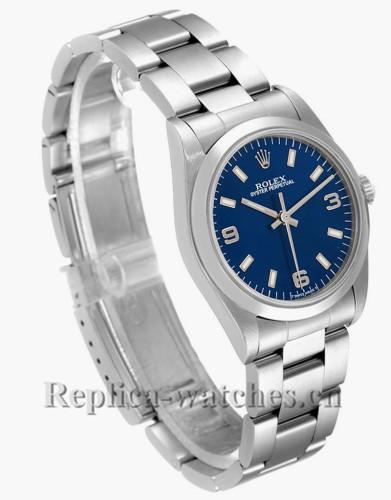 Replica Rolex Datejust Midsize 77080 31mm Blue Dial Steel Oyster Bracelet Ladies Watch