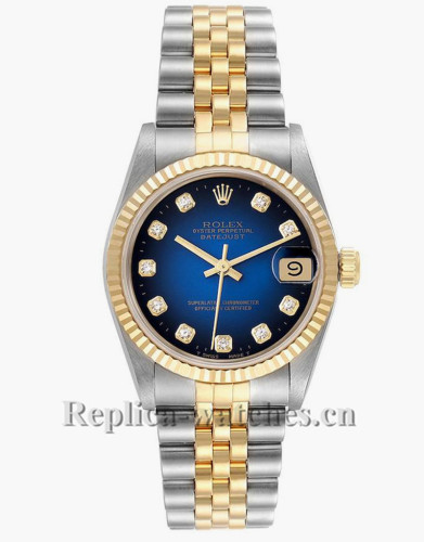 Replica Rolex Datejust Midsize 68273 Stainless steel oyster case 31mm Blue dial Diamond Ladies Watch