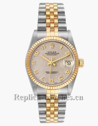 Replica Rolex Datejust Midsize 68273 Stainless steel oyster case 31mm Ivory Roman Dial Ladies Watch