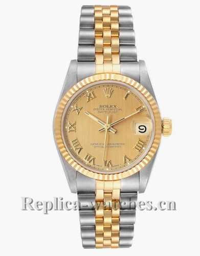Replica Rolex Datejust Midsize 68273 Stainless steel oyster case 31mm Champagne Dial Ladies Watch