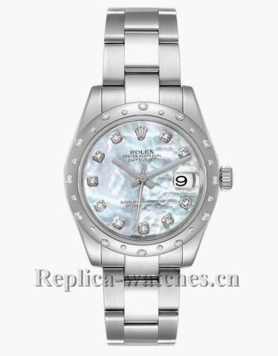 Replica Rolex Datejust Midsize 178344 Stainless steel oyster case 31mm MOP Diamond Ladies Watch