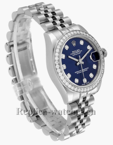 Replica Rolex Datejust Midsize 178384 Stainless steel oyster case 31mm Blue dial Diamond Ladies Watch