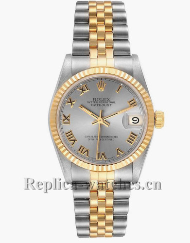 Replica Rolex Datejust Midsize 68273 Stainless steel oyster case 31mm Slate gray Dial Ladies Watch