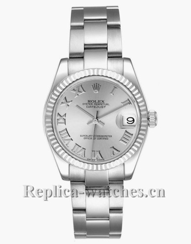 Replica Rolex Datejust Midsize 178274 Stainless steel oyster case 31mm Silver Dial Ladies Watch