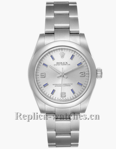 Replica Rolex Midsize 177200 Stainless steel oyster case 31mm Silver Dial Blue Hour Markers Steel Ladies Watch