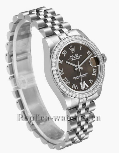 Replica Rolex Datejust Midsize 178384 Stainless steel oyster case 31mm Bronze dial Diamond Ladies Watch