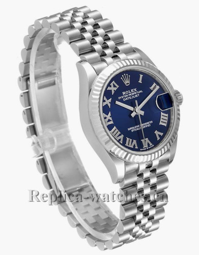 Replica Rolex Datejust Midsize 278274 Stainless steel oyster case 31mm Blue dual Ladies Diamond Watch