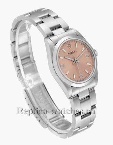 Replica Rolex Datejust Midsize 77080 Stainless steel oyster case 31mm Salmon Dial Ladies Watch
