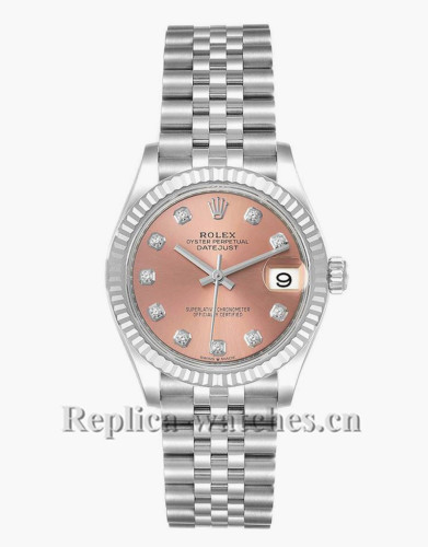 Replica Rolex Datejust Midsize 278274 Stainless steel oyster case 31mm Pink Dial Ladies Watch