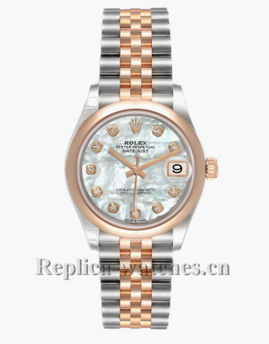 Replica Rolex Datejust Midsize 278241 Stainless steel oyster case 31mm MOP dial Diamond Watch