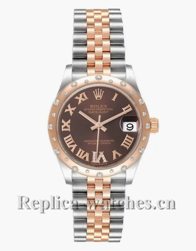 Replica Rolex Datejust Midsize 278341 Stainless steel oyster case 31mm Chocolate brown dial Diamond Ladies Watch