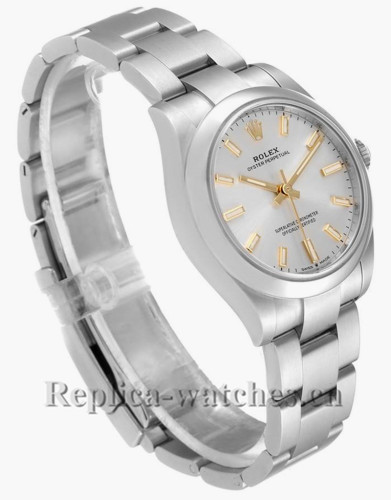 Replica Rolex Midsize 277200 Stainless steel oyster case 31mm Silver Dial Automatic Ladies Watch