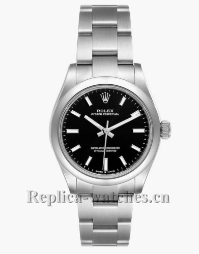 Replica Rolex Midsize 277200 Stainless steel oyster case 31mm Black Dial Automatic Ladies Watch