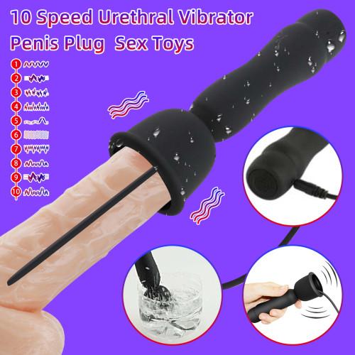 10 Speed Urethral Vibrator Penis Plug Vibrating Anal Butt Plug